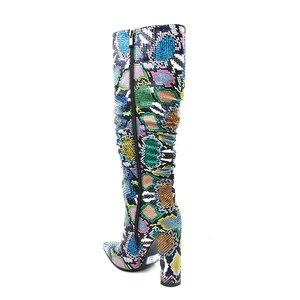 Image 5 - MORAZORA Più Il formato 36 41 donne Europee stivali di serpente in pelle artificiale di alta tacchi stivali alti al ginocchio delle signore della chiusura lampo stivali femminile