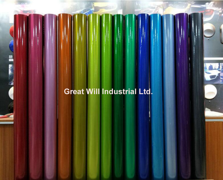 Glossy Candy Vinyl Wrap Film With Air Bubble Free Candy Gloss Car Wrap Covering Style Fame Will Size 1.52*20m/Roll
