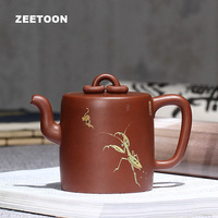 Master Handmade 310cc Double Ring Mantis Pot Authentic Yixing Teapot Purple Clay Tea Pot Chinese Zisha Tea Set Tea Maker Kettle