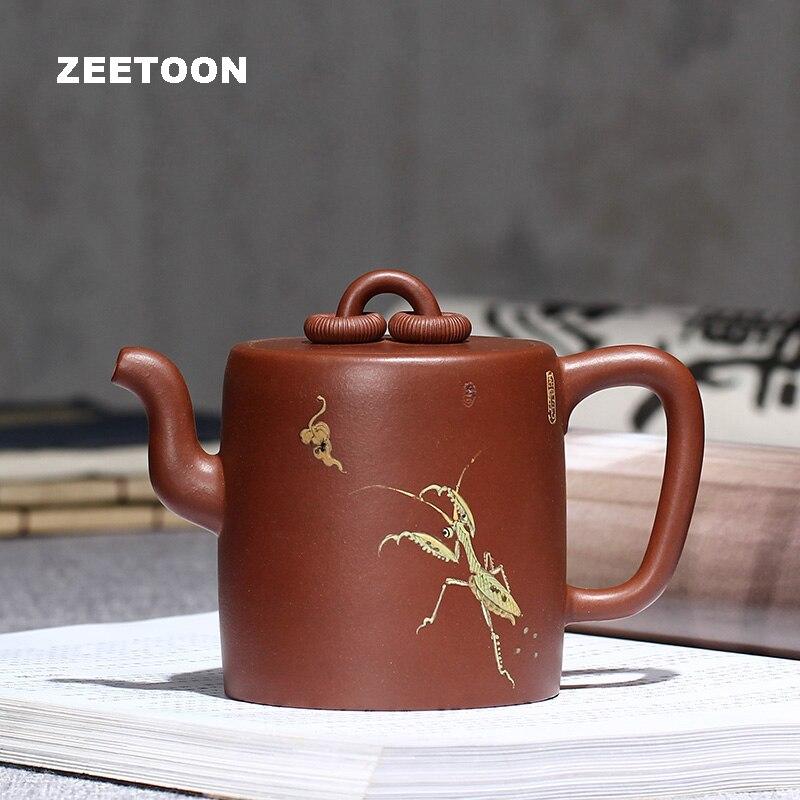 Master Handmade 310cc Double Ring Mantis Pot Authentic Yixing Teapot Purple Clay Tea Pot Chinese Zisha Tea Set Tea Maker Kettle
