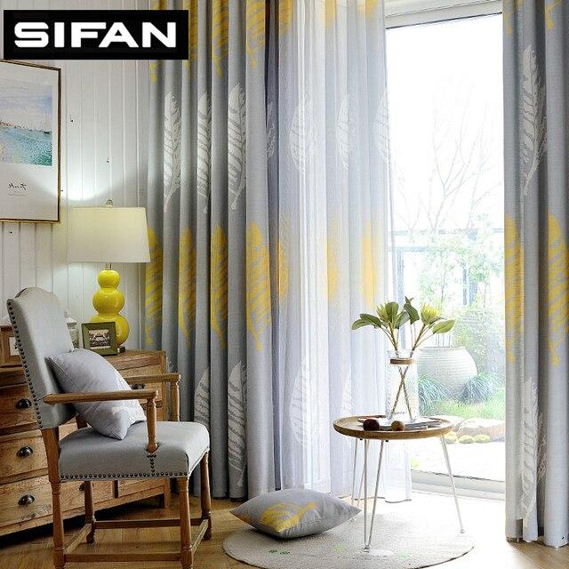 Amerikanischen Stil Blätter Faux Linie Fenster Vorhänge für das  Schlafzimmer Wohnzimmer Dekorative Moderne küche Tüll