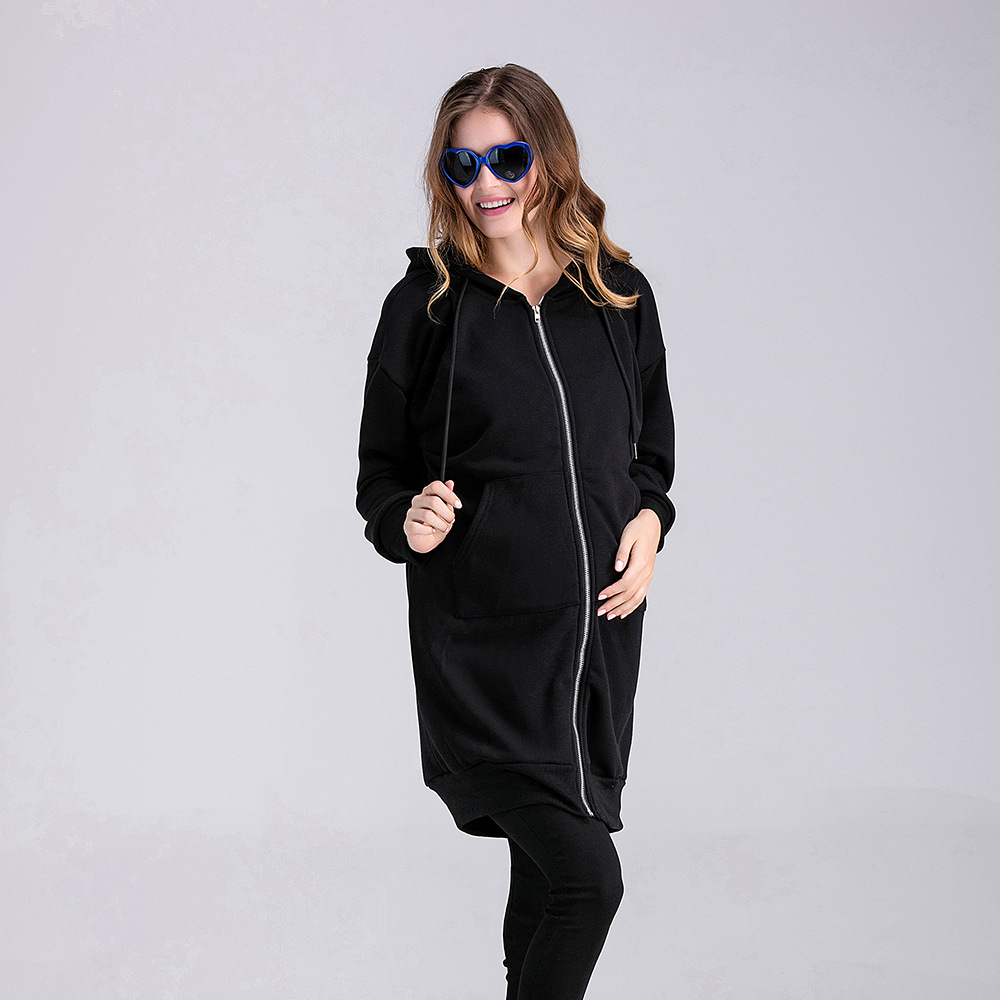 Autumn Winter Coat Women Fashion Casual Long Zipper Hooded Jacket Maternity Hoodies Sweatshirt Plus Size Outwear Coat 3XL Pocket цена 2017