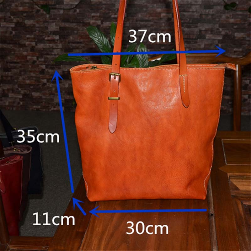 a973b7265741 AETOO Large leather handbag vegetable tanned rub color retro tree cream  leather soft tote-in Top-Handle Bags from Luggage   Bags on Aliexpress.com