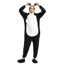 Siamese pajamas cartoon Panda couple sleepwear animal flannel adult zipper onesies for women plus size Overall Nightie Stitch