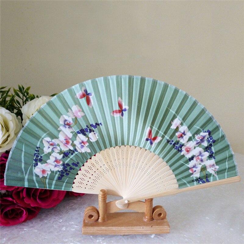 Chinese Lace Silk Flower Folding Hand Held Dance Fan Party Wedding Women Gift J6