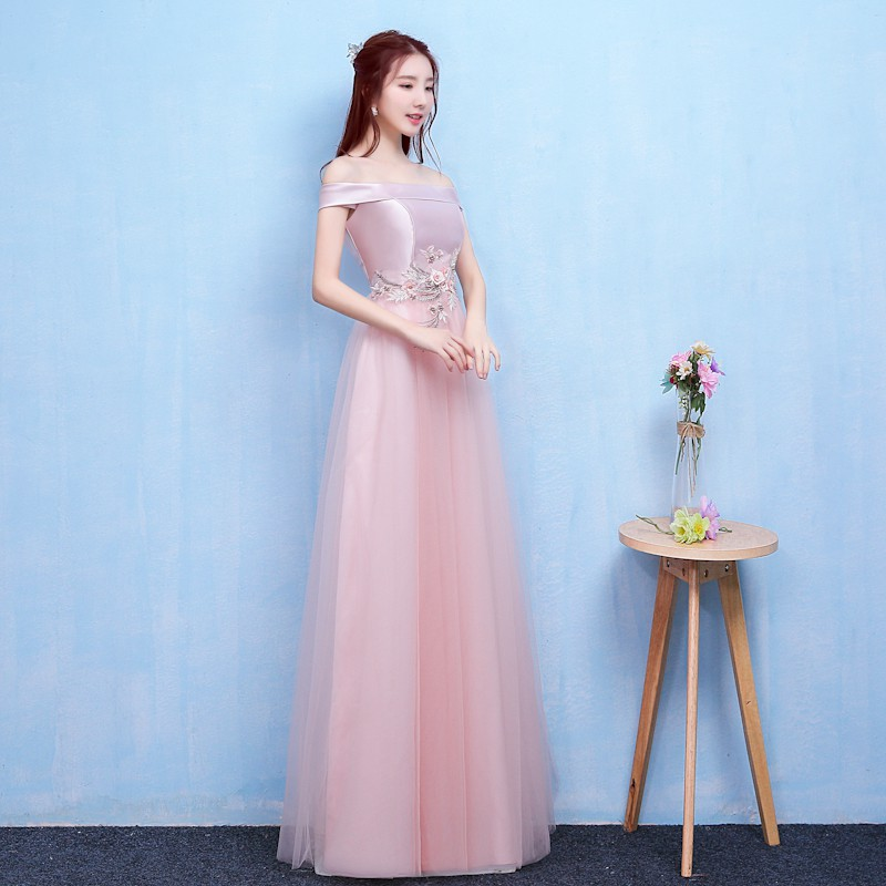 Fashion Style  Long Bridesmaid Dresses Sexy A Line Women Dress for Wedding Party Back of Bandage