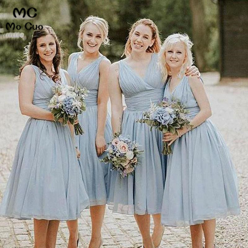 2019 Short Dusty Blue   Bridesmaid     Dress   Maid of Honer Chiffon Wedding Party   Dress   Pleated Lace Up Back Women's   Bridesmaid     Dress