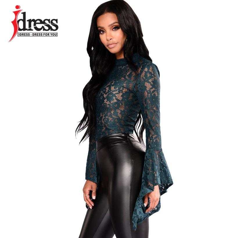 bb274b4e0935 ... IDress Women Lace Bodysuit Sexy Cut Out Jumpsuit Womens Long Sleeve  Romper Leotard Bodysuits High Neck ...