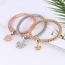 Bohopan 3 PCS/Set Elegant Rhinestone Pendant Bracelets Bangles Women Fashion Elastic Three-layer Charm Bracelet Set