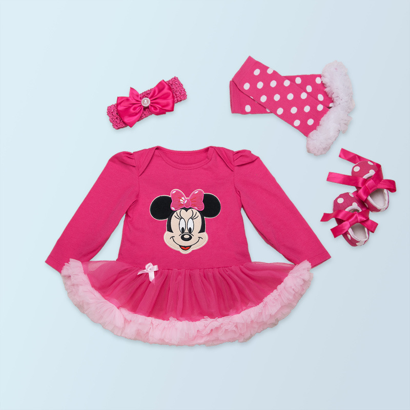 b734e2bbed1 2018 New Born Gowns Baby Rompers Baby Girl s Minnie Mickey Dress Lace 4pcs  sets spring Bebe Clothing Infant Clothes