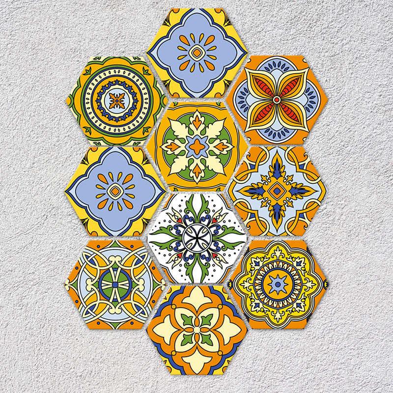 10 pçs/set tapete do banheiro adesivo quarto porta geométrica pvc adesivo esteiras da escada irregular impresso piso adesivos de parede decoração da sua casa