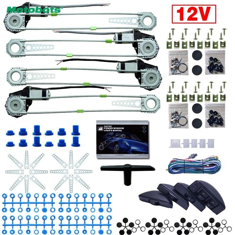 MOTOBOTS 1Set Universal Car/Auto 4 Doors 8pcs/Set Moon Swithces With Harness Cable Electronice Power Window Kits DC12V