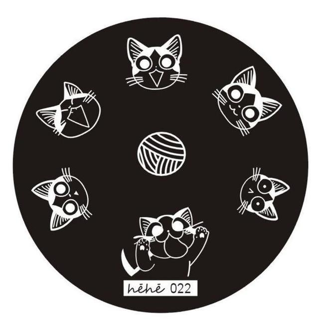 Cute Cat Pattern Nail Art Stamping Plates Template