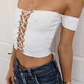 2017 new fashion Summer elastic sexy white off shoulder strapless lace up party slash neck knitted Tank Tshirt cropped Tops
