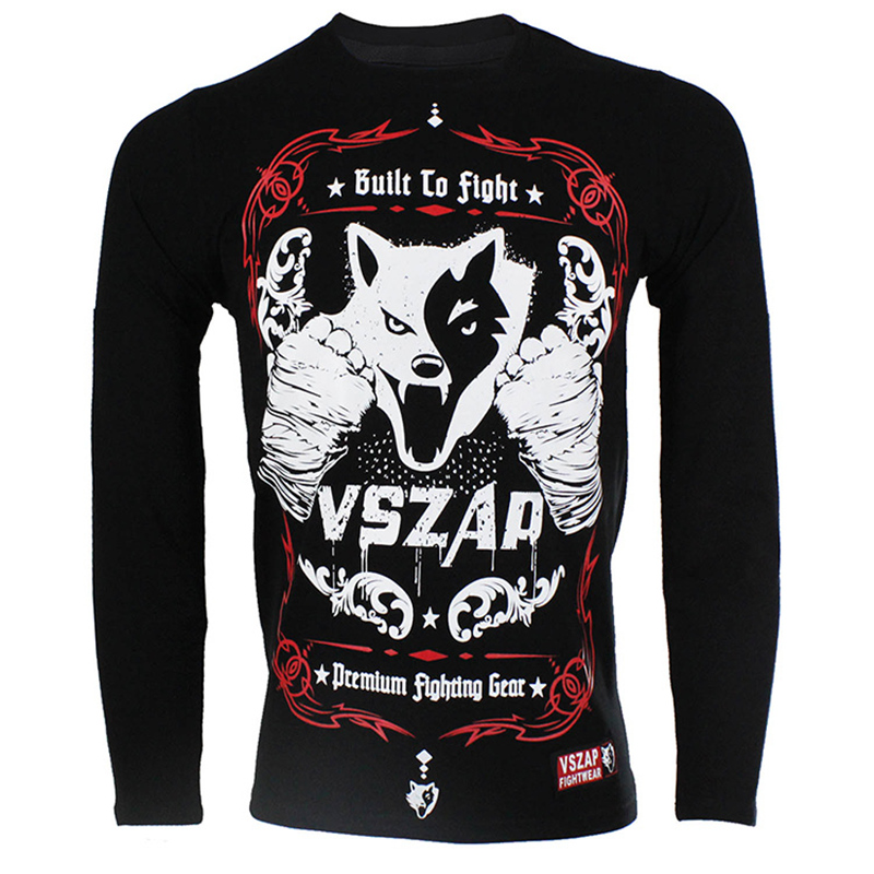 MMA Fightwear Men Full Sleeve T Shirts Workout Shirt Mma Jersey VSZAP BUILT 2 FIGHT Customization