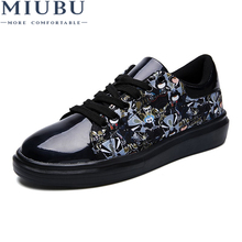 MIUBU New Sneakers Men Fashion Lace Up Casual Leather Shoes Luxury Brand Flat for Mocassin Homme Mens Loafers