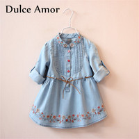 Dulce Amor Girls Denim Dress Baby Girl Clothes Autumn Long Sleeve Embroidery Flower Kid Dress For