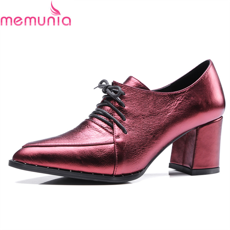 MEMUNIA 2018 hot sale genuine leather women pumps thick high heels poinetd toe fashion lace up dress shoes spring autumn memunia new arrive hot sale genuine