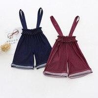 Muchachas del estilo de corea pantalones vintage borgoña/tinta de color casual niños pantalones otoño bebé niño Niños ropa 3t-12