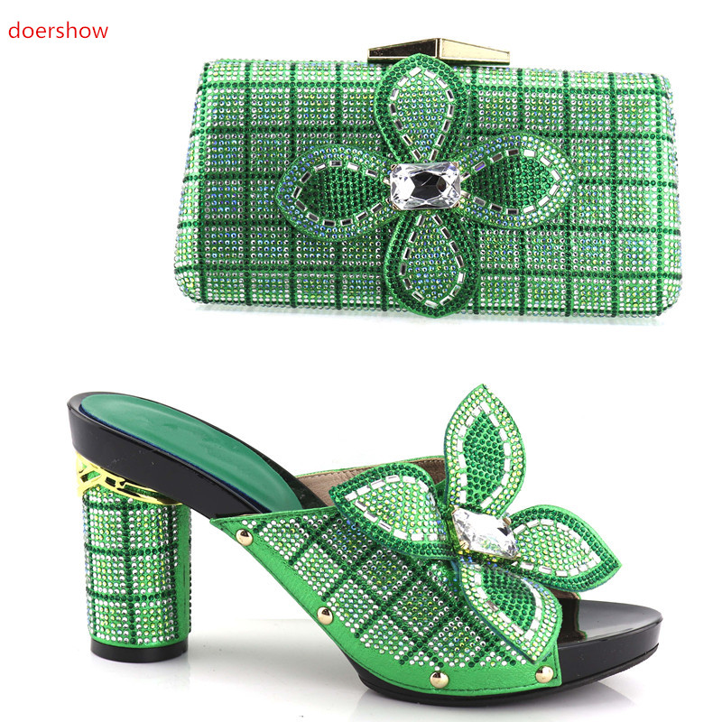 doershow green Italian Shoes with Matching Bag Set Decorated with Rhinestone African Shoe and Bag Set Italy Shoe and Bag SHV1-32 doershow high quality italian shoe and bag to match women shoes african party shoes and bag set green with rhinestone kh1 3