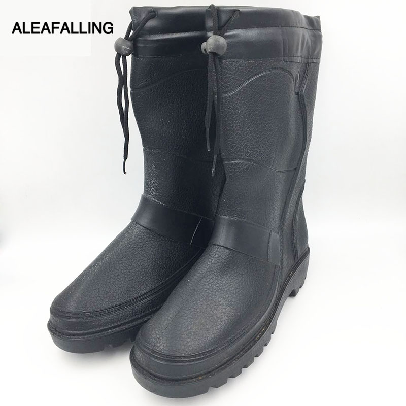 Aleafalling Plüsch Verdickt Winter Wasserdichte Rainshoes Mode Pvc Plattform Mid-kalb Motorrad Schuhe Garten Männer Rain M056