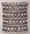 Многослойной стрейч браслет-манжета женщины кристалл свадебные украшения B11 4 РЯД серебро и позолота челнока оптовая