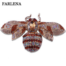 FARLENA Jewelry Unique Large Yellow Bee Rhinestone Crystal Insect Brooch Pins Woman Brooch