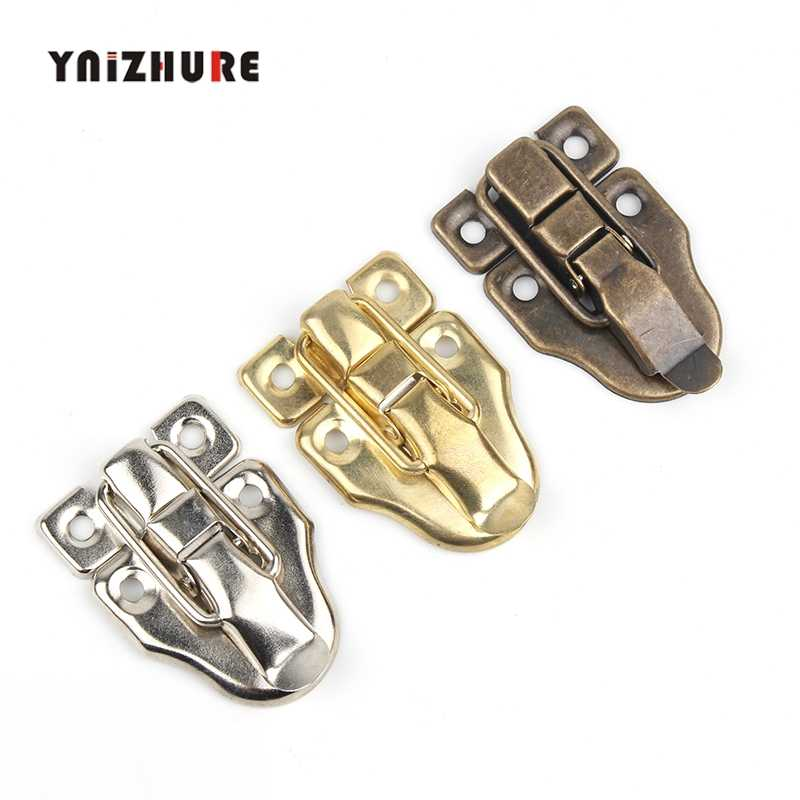 YNIZHURE 1Set Antique Vintage Style Brass Decorative Jewelry Gift Wooden Box Hasp Latch Hook