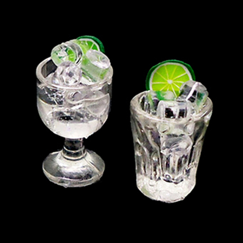 1:12 Resin Doll House Decor Mini Glass Cup + Ice Cube Simulation Goblet Cup Model Toy Dollhouse Toy Model Miniature Food