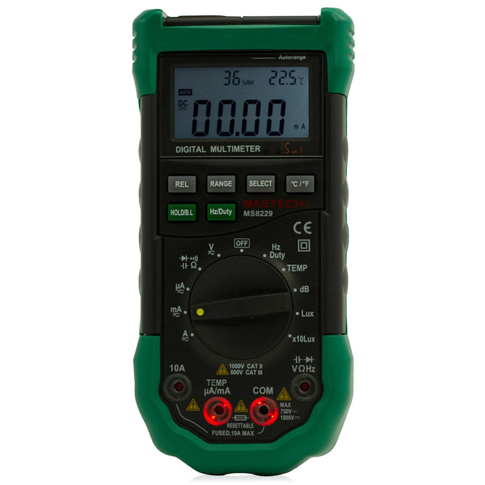 Mastech MS8229 Digital Multimeter 5 in 1 Auto-Range Tester Meter With Multi-function Lux Sound Temperature Humidity Multitool aimo m320 pocket meter auto range handheld digital multimeter