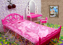 Doll Accessories Toys Girls Play House Toys Big Bed & Dresser Dressing Table with Chairs Doll House Furniture For Barbie Doll(China)