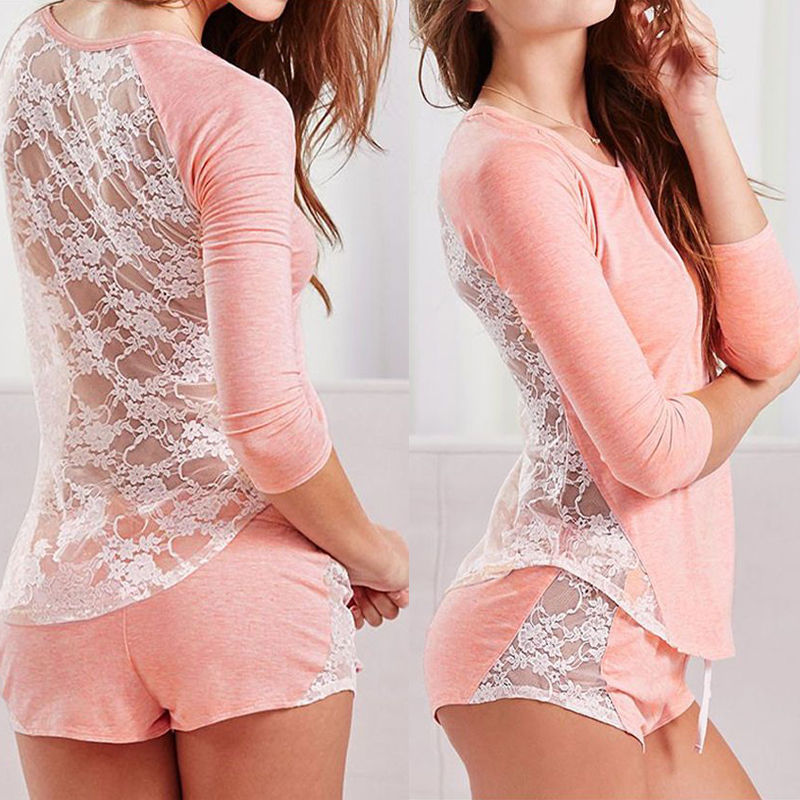 Sexy Women's Home Suit Cotton Long Sleeve Lace Patchwork Sleepwear Back Perspective Nightwear   Pajamas     Set   Loungewear