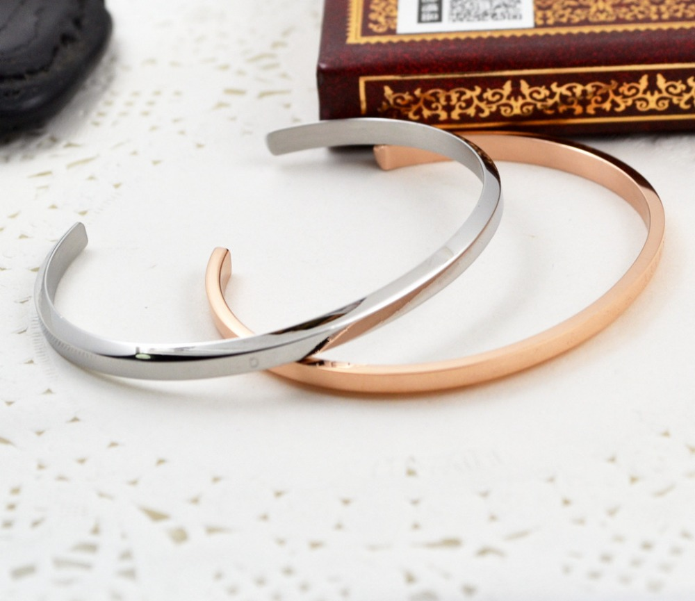 18kgpanium Steel D Word Open Wristbandcelet Ladys Bangle Free Shipping Gb038 In Charmcelets From Jewelry Accessories On Aliexpress Com