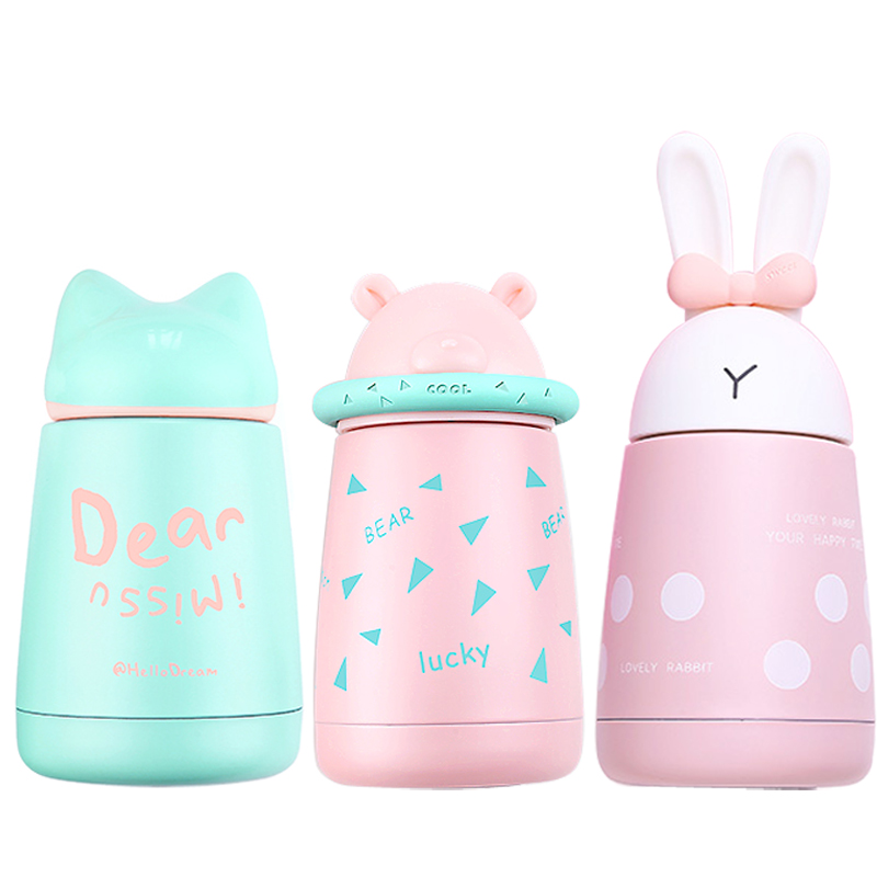 Baby feeding Thermos cup Cartoon Animal Cute Vacuum Cup Stainless Steel Bottle Keep cool warm water 300ML Children drinkware a07 stainless steel vacuum flask bottle cup blue silver 300ml