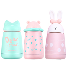 Baby feeding Thermos cup Cartoon Animal Cute Vacuum Cup Stainless Steel Bottle Keep cool warm water 300ML Children drinkware