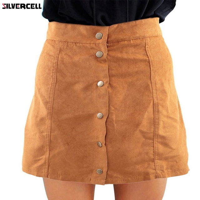 02e450387 2017 Casual Women Faux Suede Skirt Vintage High Waist Bodycon Button Front  A-Line Skirts