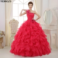 Romantic 2016 Colorful Organza A Line Beading Ruched One Shoulder Wedding Dress Bride Beautiful Party Vestidos