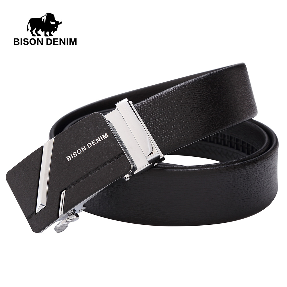 BISON DENIM High Quality Mens Belt Business Automatic Buckle Strap Cow Genuine Leather Belts Men Gift For A Man N71281