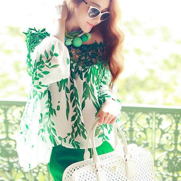 Women Fashion Hollow Out Green Leaf Boat Neck Chiffon Top Printed T-Shirt