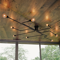 Vintage Pendant Lights Multiple Rod Wrought Iron Ceiling Lamp E27 Bulb Living Room Lamparas for Home Lighting Fixtures