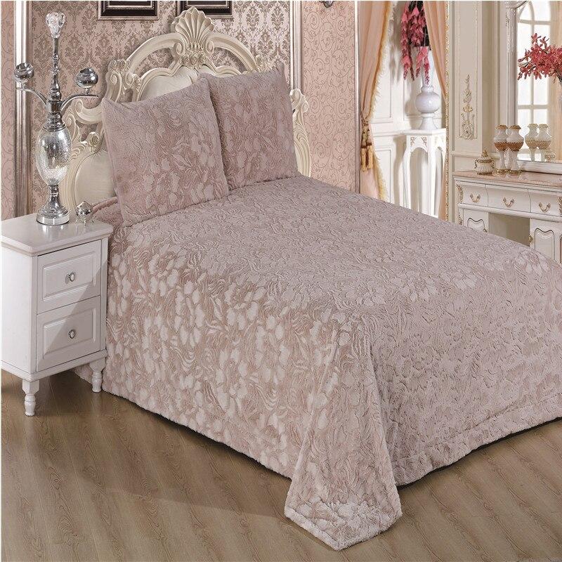 CLORIS Luxueux Solide Couleur Super Doux Couvre-lit 220*240 cm (1 pc) pillowcases50 * 70 (2 pc) sur le Lit Literie