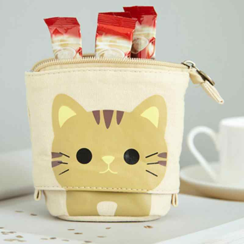 Portable Zipper Pencil Case Canvas Cute Pencil Pocket School Novelty Stationery Supplies
