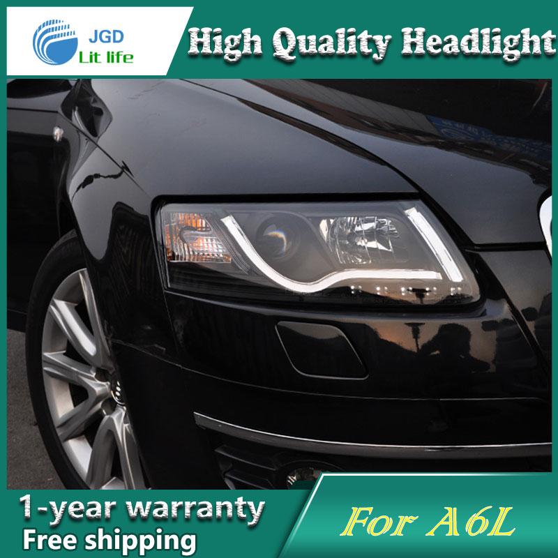 Глава стайлинга автомобилей чехол лампа для Audi A6L 2005-2012 фары светодиодные фары DRL объектива с двойным Луч Би-Ксеноновые автомобильные аксессуары