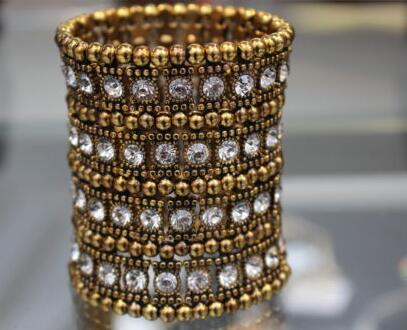 d14ccbffd9f Gold Silver 4ROW Crystal Stretched Elastic Strand Wrist Bangle Wristband  Cuff Bracelet Bangle Women Wedding Party Jewelry B380-in Charm Bracelets  from ...