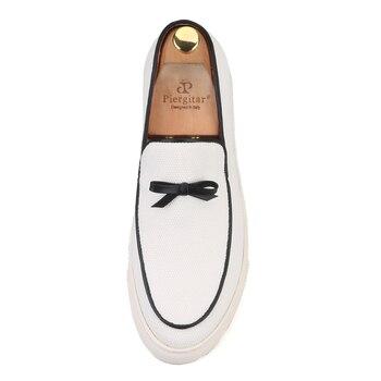 Zapatos De Lona Blancos Para Hombre | Marca Piergitar 2019 Primavera/Verano Nuevas Zapatillas De Lona De Color Blanco Hechas A Mano Para Hombre Zapatos Casuales Para Hombre Mocasines