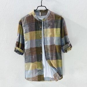 Image 4 - MOGELAISI koszule w szkocką kratę marki mężczyźni moda z długim rękawem bawełna lniana koszula wygodne miękkie człowiek wysokiej jakości jesienna odzież 731