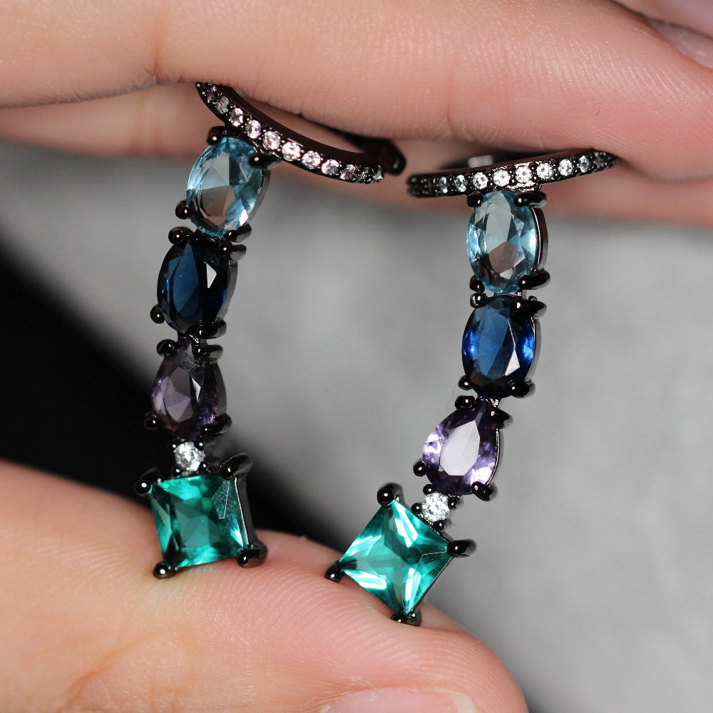 Fashion Ear Cuff Earrings Multi Color Stone Stud Earring with Cubic Zirconias Brinco for Women Jewelry Party Gift EGY004342