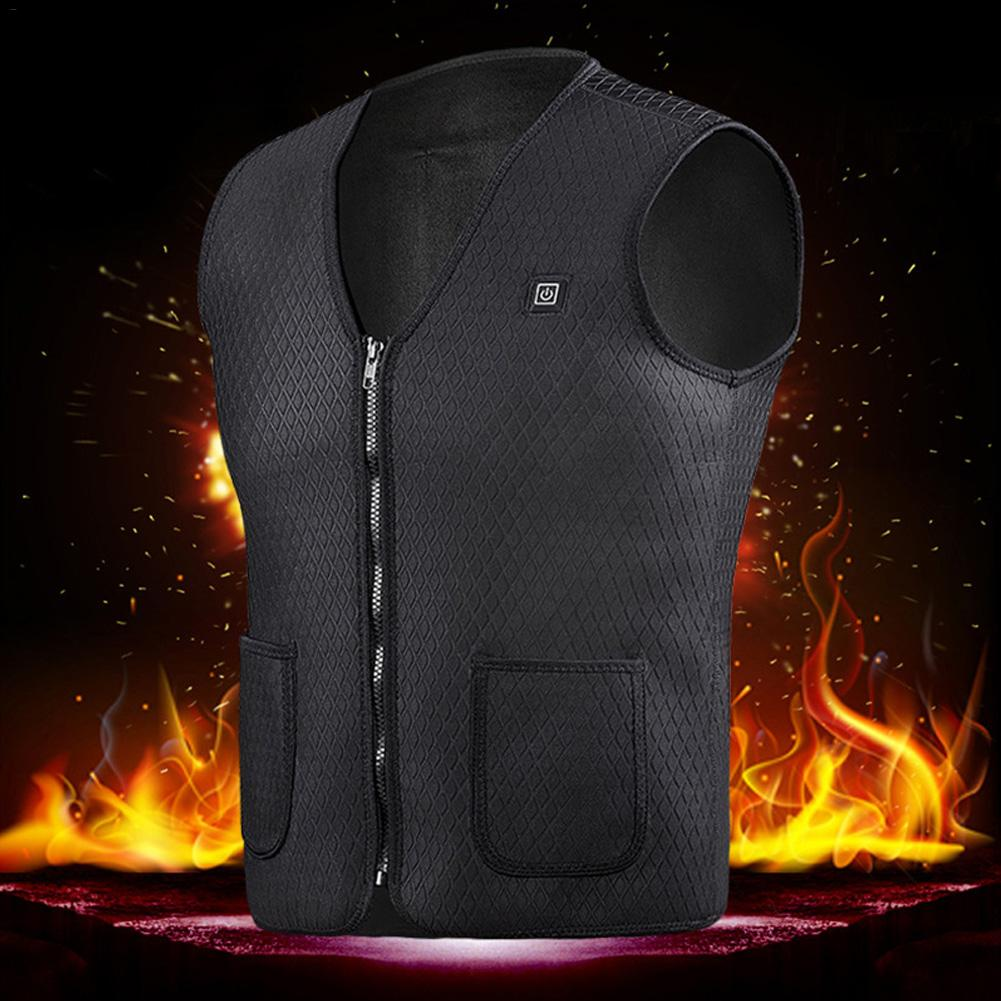 Men Women Heating Vest Outdoor Riding Fishing Usb Charging Electric Heated Vest Warm Electric Heated Clothing Feather Plus Size To Adopt Advanced Technology