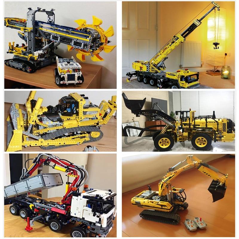 Lepin Technic Car 20004 20005 20006 20007 20008 20009 20010 20015 20019 20056 20076 Big Crane Truck Wheel Loader Excavator Toys