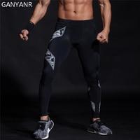 GANYANR Running Tights Men Yoga Basketball Fitness Athletic Leggings Compression Pants Gym Sport Skins Jogging Training Football